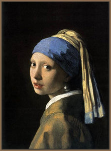 60185_FN4_- titled 'Girl with a Pearl Earring' by artist Jan Vermeer - Wall Art Print on Textured Fine Art Canvas or Paper - Digital Giclee reproduction of art painting. Red Sky Art is India's Online Art Gallery for Home Decor - V108