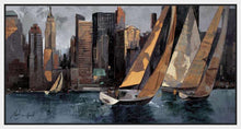 222241_FW1 'Sailboats in Manhattan I' by artist Marti Bofarull - Wall Art Print on Textured Fine Art Canvas or Paper - Digital Giclee reproduction of art painting. Red Sky Art is India's Online Art Gallery for Home Decor - 111_BMP306