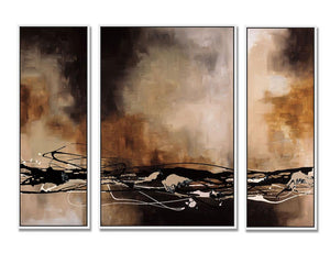 92201_FW1_- titled 'Tobacco and Chocolate - 3 Panel Triptych' by artist Laurie Maitland - Wall Art Print on Textured Fine Art Canvas or Paper - Digital Giclee reproduction of art painting. Red Sky Art is India's Online Art Gallery for Home Decor - 111_TRYP12306