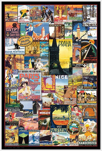 40002_FW1_- titled 'Vintage Poster Collage' by artist Anonymous - Wall Art Print on Textured Fine Art Canvas or Paper - Digital Giclee reproduction of art painting. Red Sky Art is India's Online Art Gallery for Home Decor - 43_1750-0755
