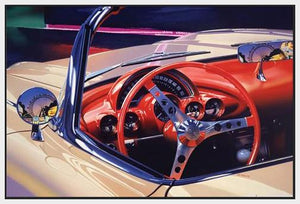 35139_FW1_- titled 'Corvette 1958' by artist Graham Reynolds - Wall Art Print on Textured Fine Art Canvas or Paper - Digital Giclee reproduction of art painting. Red Sky Art is India's Online Art Gallery for Home Decor - 43_1750-64584
