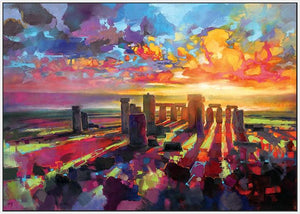 45129_FW1 - titled 'Stonehenge Equinox' by artist Scott Naismith - Wall Art Print on Textured Fine Art Canvas or Paper - Digital Giclee reproduction of art painting. Red Sky Art is India's Online Art Gallery for Home Decor - 55_WDC96373