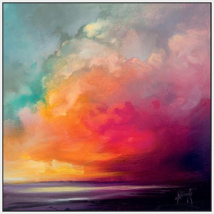 45138_FW1 - titled 'Sunset Cumulus Study 1' by artist Scott Naismith - Wall Art Print on Textured Fine Art Canvas or Paper - Digital Giclee reproduction of art painting. Red Sky Art is India's Online Art Gallery for Home Decor - 55_WDC98170