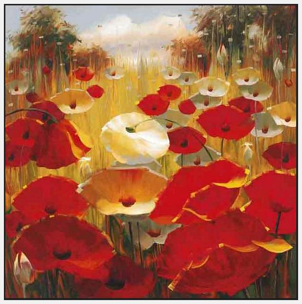 34648_FW1_- titled 'Meadow Poppies III' by artist Lucas Santini - Wall Art Print on Textured Fine Art Canvas or Paper - Digital Giclee reproduction of art painting. Red Sky Art is India's Online Art Gallery for Home Decor - 762_TR36618