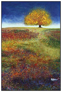 34513_FW1_- titled 'Dreaming Tree In The Field' by artist Melissa Graves-Brown - Wall Art Print on Textured Fine Art Canvas or Paper - Digital Giclee reproduction of art painting. Red Sky Art is India's Online Art Gallery for Home Decor - 761_TR15463