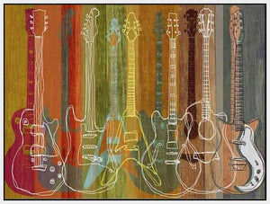 34587_FW1_- titled 'Guitar Heritage' by artist MJ Lew - Wall Art Print on Textured Fine Art Canvas or Paper - Digital Giclee reproduction of art painting. Red Sky Art is India's Online Art Gallery for Home Decor - 761_TR16010