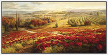 34732_FW1_- titled 'Red Poppy Panorama' by artist Roberto Lombardi - Wall Art Print on Textured Fine Art Canvas or Paper - Digital Giclee reproduction of art painting. Red Sky Art is India's Online Art Gallery for Home Decor - 761_TR3063
