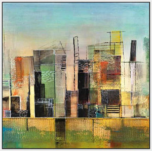 76058_FW1_- titled 'Golden City 1' by artist Asha Menghrajani - Wall Art Print on Textured Fine Art Canvas or Paper - Digital Giclee reproduction of art painting. Red Sky Art is India's Online Art Gallery for Home Decor - 761_TR33135