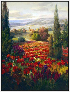 76006_FW1_- titled ' Fields of Bloom' by artist Roberto Lombardi - Wall Art Print on Textured Fine Art Canvas or Paper - Digital Giclee reproduction of art painting. Red Sky Art is India's Online Art Gallery for Home Decor - 761_TR3940