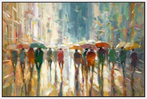76069_FW1_- titled 'Downtown Rain' by artist Eric Jarvis - Wall Art Print on Textured Fine Art Canvas or Paper - Digital Giclee reproduction of art painting. Red Sky Art is India's Online Art Gallery for Home Decor - 761_TR42187