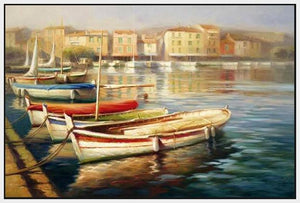 34592_FW1_- titled 'Harbor Morning II' by artist Roberto Lombardi - Wall Art Print on Textured Fine Art Canvas or Paper - Digital Giclee reproduction of art painting. Red Sky Art is India's Online Art Gallery for Home Decor - 761_TR5346