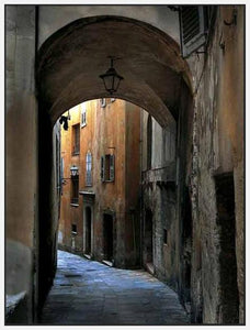34760_FW1_- titled 'Siena Alley I' by artist Jim Chamberlain - Wall Art Print on Textured Fine Art Canvas or Paper - Digital Giclee reproduction of art painting. Red Sky Art is India's Online Art Gallery for Home Decor - 761_TR8929