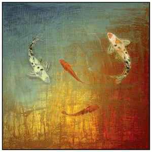 35013_FW1_- titled 'Koi Zen' by artist MJ Lew - Wall Art Print on Textured Fine Art Canvas or Paper - Digital Giclee reproduction of art painting. Red Sky Art is India's Online Art Gallery for Home Decor - 762_TR12362