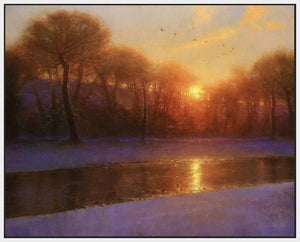 60172_FW1_- titled 'Morning on the Missouri ' by artist  Brent Cotton - Wall Art Print on Textured Fine Art Canvas or Paper - Digital Giclee reproduction of art painting. Red Sky Art is India's Online Art Gallery for Home Decor - C3140