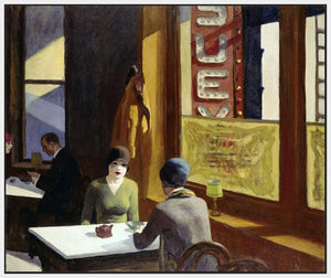 60256_FW1_- titled 'Chop Suey, 1929 ' by artist  Edward Hopper - Wall Art Print on Textured Fine Art Canvas or Paper - Digital Giclee reproduction of art painting. Red Sky Art is India's Online Art Gallery for Home Decor - H2208