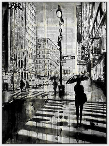 60211_FW1_- titled 'Manhattan Moment' by artist Loui Jover - Wall Art Print on Textured Fine Art Canvas or Paper - Digital Giclee reproduction of art painting. Red Sky Art is India's Online Art Gallery for Home Decor - J861