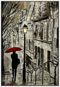 60086_FW1_- titled 'The Walk Home' by artist Loui Jover - Wall Art Print on Textured Fine Art Canvas or Paper - Digital Giclee reproduction of art painting. Red Sky Art is India's Online Art Gallery for Home Decor - J862