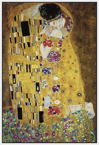 60213_FW1_- titled 'The Kiss' by artist Gustav Klimt - Wall Art Print on Textured Fine Art Canvas or Paper - Digital Giclee reproduction of art painting. Red Sky Art is India's Online Art Gallery for Home Decor - K349