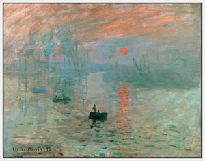 60201_FW1_- titled 'Impression, Sunrise ' by artist  Claude Monet - Wall Art Print on Textured Fine Art Canvas or Paper - Digital Giclee reproduction of art painting. Red Sky Art is India's Online Art Gallery for Home Decor - M2037
