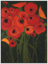 60147_FW1_- titled 'Wild Poppies' by artist Karen Tusinski - Wall Art Print on Textured Fine Art Canvas or Paper - Digital Giclee reproduction of art painting. Red Sky Art is India's Online Art Gallery for Home Decor - T698