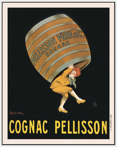 60203_FW1_- titled 'Cognac Pellisson' by artist Vintage Posters - Wall Art Print on Textured Fine Art Canvas or Paper - Digital Giclee reproduction of art painting. Red Sky Art is India's Online Art Gallery for Home Decor - V395