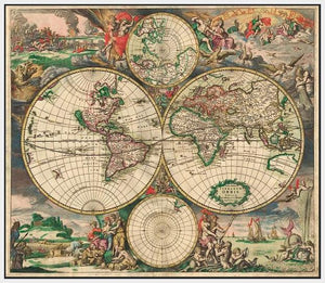 60242_FW1_- titled 'World Map 1689' by artist Vintage Reproduction - Wall Art Print on Textured Fine Art Canvas or Paper - Digital Giclee reproduction of art painting. Red Sky Art is India's Online Art Gallery for Home Decor - V413
