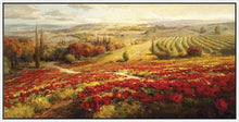 34732_FW2_- titled 'Red Poppy Panorama' by artist Roberto Lombardi - Wall Art Print on Textured Fine Art Canvas or Paper - Digital Giclee reproduction of art painting. Red Sky Art is India's Online Art Gallery for Home Decor - 761_TR3063