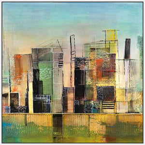 76058_FW2_- titled 'Golden City 1' by artist Asha Menghrajani - Wall Art Print on Textured Fine Art Canvas or Paper - Digital Giclee reproduction of art painting. Red Sky Art is India's Online Art Gallery for Home Decor - 761_TR33135