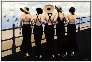 76004_FW2_- titled 'Afternoon on the Boardwalk' by artist  Jacqueline Osborn - Wall Art Print on Textured Fine Art Canvas or Paper - Digital Giclee reproduction of art painting. Red Sky Art is India's Online Art Gallery for Home Decor - 761_TR3885