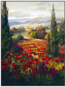 76006_FW2_- titled ' Fields of Bloom' by artist Roberto Lombardi - Wall Art Print on Textured Fine Art Canvas or Paper - Digital Giclee reproduction of art painting. Red Sky Art is India's Online Art Gallery for Home Decor - 761_TR3940