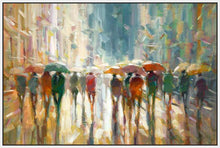 76069_FW2_- titled 'Downtown Rain' by artist Eric Jarvis - Wall Art Print on Textured Fine Art Canvas or Paper - Digital Giclee reproduction of art painting. Red Sky Art is India's Online Art Gallery for Home Decor - 761_TR42187