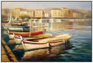 34592_FW2_- titled 'Harbor Morning II' by artist Roberto Lombardi - Wall Art Print on Textured Fine Art Canvas or Paper - Digital Giclee reproduction of art painting. Red Sky Art is India's Online Art Gallery for Home Decor - 761_TR5346