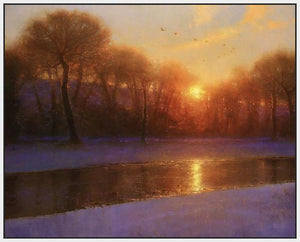 60172_FW2_- titled 'Morning on the Missouri ' by artist  Brent Cotton - Wall Art Print on Textured Fine Art Canvas or Paper - Digital Giclee reproduction of art painting. Red Sky Art is India's Online Art Gallery for Home Decor - C3140