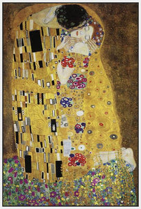 60213_FW2_- titled 'The Kiss' by artist Gustav Klimt - Wall Art Print on Textured Fine Art Canvas or Paper - Digital Giclee reproduction of art painting. Red Sky Art is India's Online Art Gallery for Home Decor - K349