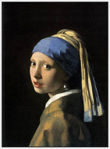 60185_FW2_- titled 'Girl with a Pearl Earring' by artist Jan Vermeer - Wall Art Print on Textured Fine Art Canvas or Paper - Digital Giclee reproduction of art painting. Red Sky Art is India's Online Art Gallery for Home Decor - V108