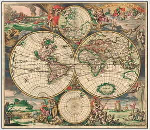60242_FW2_- titled 'World Map 1689' by artist Vintage Reproduction - Wall Art Print on Textured Fine Art Canvas or Paper - Digital Giclee reproduction of art painting. Red Sky Art is India's Online Art Gallery for Home Decor - V413