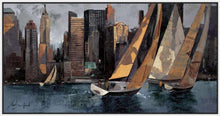 222241_FW3 'Sailboats in Manhattan I' by artist Marti Bofarull - Wall Art Print on Textured Fine Art Canvas or Paper - Digital Giclee reproduction of art painting. Red Sky Art is India's Online Art Gallery for Home Decor - 111_BMP306