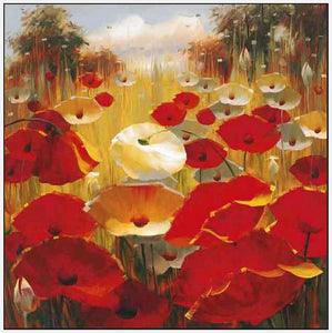 34648_FW3_- titled 'Meadow Poppies III' by artist Lucas Santini - Wall Art Print on Textured Fine Art Canvas or Paper - Digital Giclee reproduction of art painting. Red Sky Art is India's Online Art Gallery for Home Decor - 762_TR36618