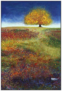 34513_FW3_- titled 'Dreaming Tree In The Field' by artist Melissa Graves-Brown - Wall Art Print on Textured Fine Art Canvas or Paper - Digital Giclee reproduction of art painting. Red Sky Art is India's Online Art Gallery for Home Decor - 761_TR15463