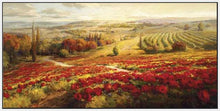 34732_FW3_- titled 'Red Poppy Panorama' by artist Roberto Lombardi - Wall Art Print on Textured Fine Art Canvas or Paper - Digital Giclee reproduction of art painting. Red Sky Art is India's Online Art Gallery for Home Decor - 761_TR3063