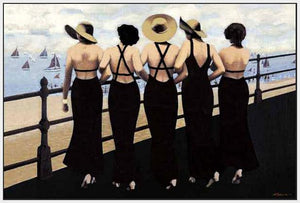 76004_FW3_- titled 'Afternoon on the Boardwalk' by artist  Jacqueline Osborn - Wall Art Print on Textured Fine Art Canvas or Paper - Digital Giclee reproduction of art painting. Red Sky Art is India's Online Art Gallery for Home Decor - 761_TR3885