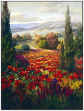 76006_FW3_- titled ' Fields of Bloom' by artist Roberto Lombardi - Wall Art Print on Textured Fine Art Canvas or Paper - Digital Giclee reproduction of art painting. Red Sky Art is India's Online Art Gallery for Home Decor - 761_TR3940