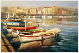 34592_FW3_- titled 'Harbor Morning II' by artist Roberto Lombardi - Wall Art Print on Textured Fine Art Canvas or Paper - Digital Giclee reproduction of art painting. Red Sky Art is India's Online Art Gallery for Home Decor - 761_TR5346