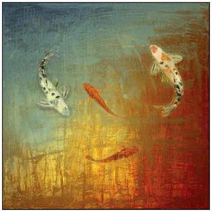 35013_FW3_- titled 'Koi Zen' by artist MJ Lew - Wall Art Print on Textured Fine Art Canvas or Paper - Digital Giclee reproduction of art painting. Red Sky Art is India's Online Art Gallery for Home Decor - 762_TR12362