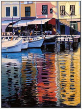 35125_FW3_- titled 'Reflections Of Portofino' by artist Tom Swimm - Wall Art Print on Textured Fine Art Canvas or Paper - Digital Giclee reproduction of art painting. Red Sky Art is India's Online Art Gallery for Home Decor - 762_TR18586