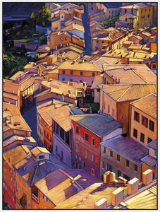 35128_FW3_- titled 'Above Siena' by artist Tom Swimm - Wall Art Print on Textured Fine Art Canvas or Paper - Digital Giclee reproduction of art painting. Red Sky Art is India's Online Art Gallery for Home Decor - 762_TR18599