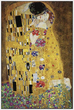 60213_FW3_- titled 'The Kiss' by artist Gustav Klimt - Wall Art Print on Textured Fine Art Canvas or Paper - Digital Giclee reproduction of art painting. Red Sky Art is India's Online Art Gallery for Home Decor - K349