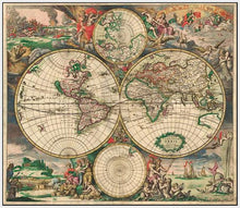 60242_FW3_- titled 'World Map 1689' by artist Vintage Reproduction - Wall Art Print on Textured Fine Art Canvas or Paper - Digital Giclee reproduction of art painting. Red Sky Art is India's Online Art Gallery for Home Decor - V413