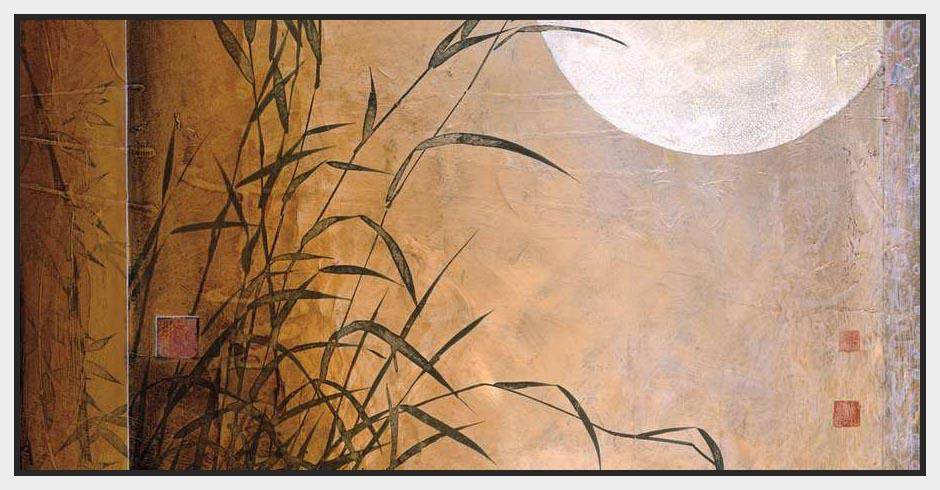 222105_FW4 'Lakeside Moonrise' by artist Don Li-Leger - Wall Art Print on Textured Fine Art Canvas or Paper - Digital Giclee reproduction of art painting. Red Sky Art is India's Online Art Gallery for Home Decor - 111_12786