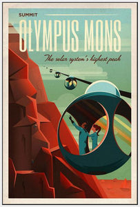 60097_FW4_- titled 'Space X Mars Tourism Poster for Olympus Mons' by artist Vintage Reproduction - Wall Art Print on Textured Fine Art Canvas or Paper - Digital Giclee reproduction of art painting. Red Sky Art is India's Online Art Gallery for Home Decor - V1842